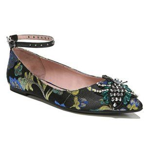 Sam Edelman Black Slip On Ankle Strap Rocco Loafer with Jeweled Critter Size 6
